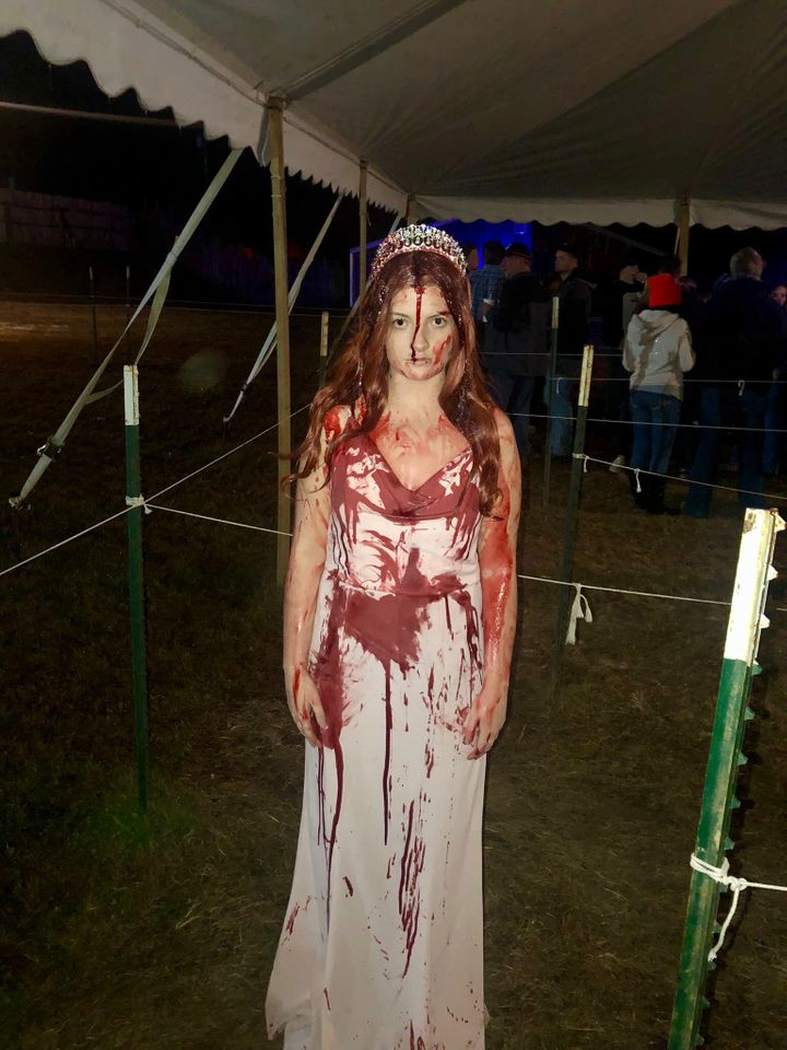 Sidney Wolfe dressed up as Carrie White to promote her upcoming role in