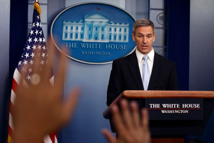 Acting Director of United States Citizenship and Immigration Services Ken Cuccinelli, speaks during a briefing at the White H