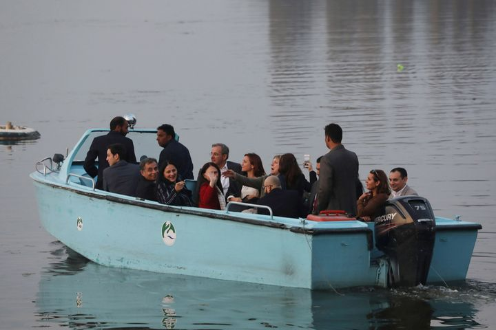 European Union lawmakers takes a local shikara ride in the Dal Lake, on 29 October, 2019 in Srinagar.