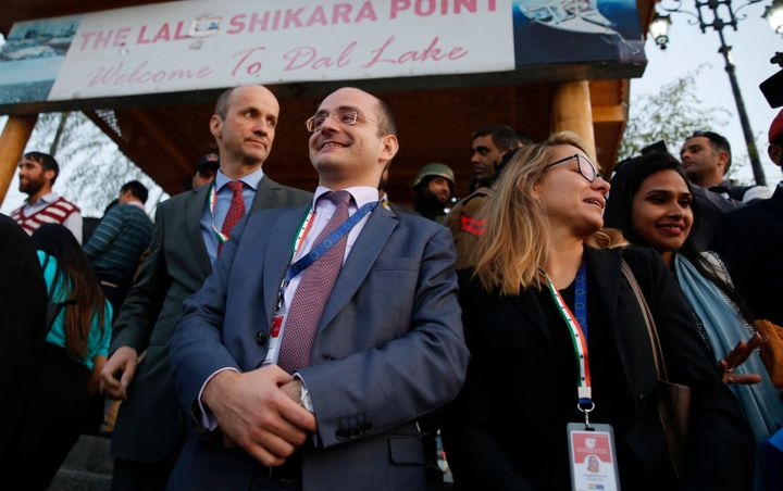 """European Union lawmakers wait to take a local shikara ride in the Dal Lake, on 29 October, 2019 in Srinagar. The """"private"""" visit was planned and largely executed at the direction of National Security Advisor Ajit Doval."""