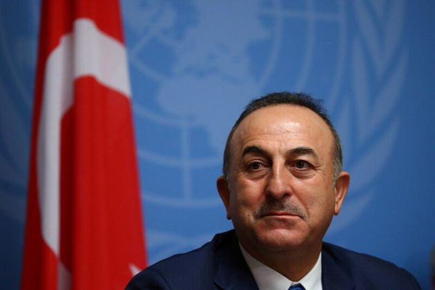 Turkey's FM Mevlut Cavusoglu attends a news conference in