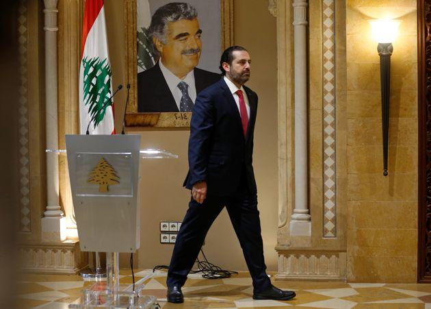 Lebanon's Prime Minister Saad al-Hariri leaves after a news conference in Beirut, Lebanon October 29,...