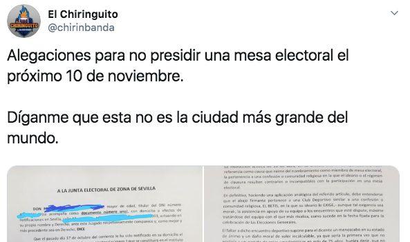 El tuit de la carta a la Junta General