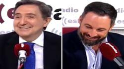 La reacción de Santiago Abascal cuando Jiménez Losantos le espeta que es un