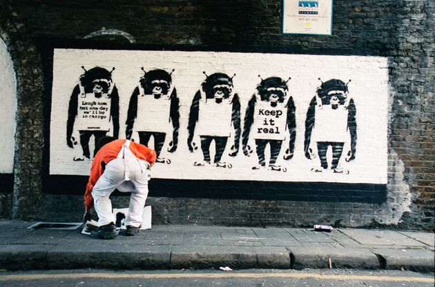 Steve Lazarides and Banksy, pictured here, went their separate ways in 2008 after more than a decade...
