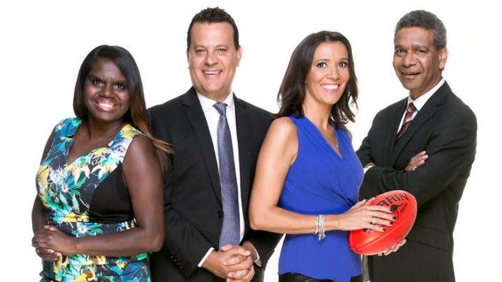 The Marngrook Footy Show cast (L to R): Leila Gurruwiwi, Grant Hansen, Shelley Ware and Gilbert McAdam.