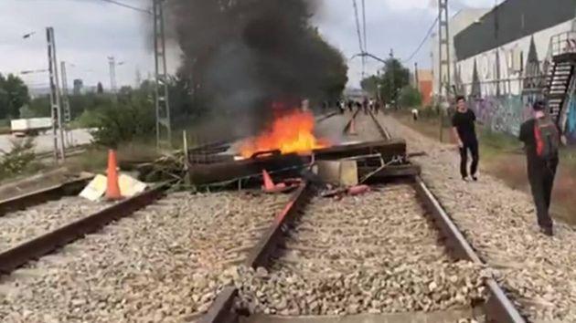 Sabotaje en una vía del tren en