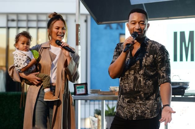 Miles Stephens, Chrissy Teigen and John Legend attend the Impossible Foods Grocery Los Angeles Launch...