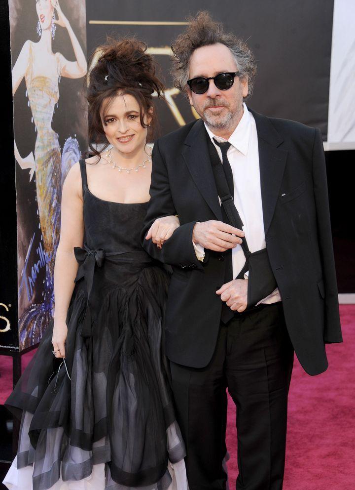 Helena Bonham Carter and director/husband Tim Burton arrive at the Oscars in 2013.