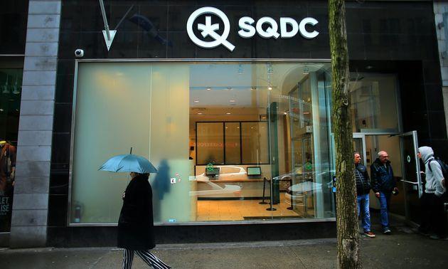 A downtown Montreal storefront of the Société Québécoise du Cannabis (SQDC),...