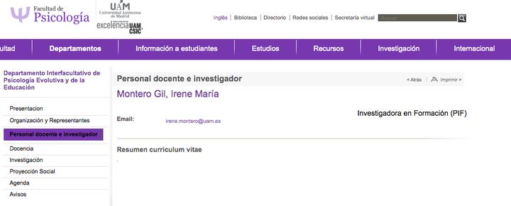 Web de la Facultad de Psicología de la UAM.