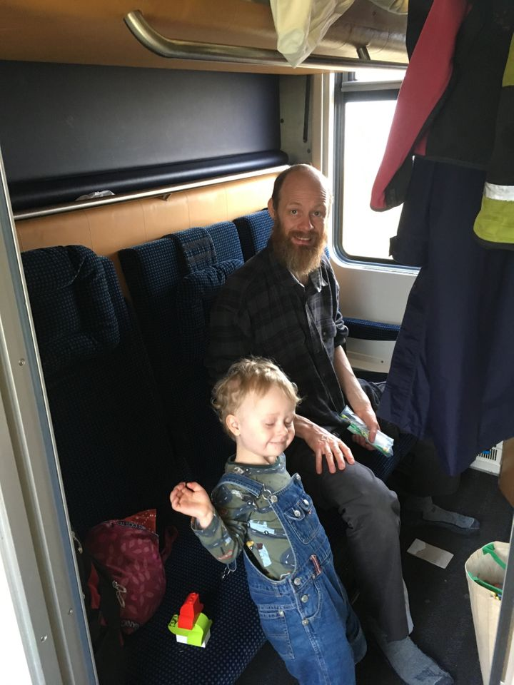 Leah Irby's husband and son on their three-week trip around Europe by train.