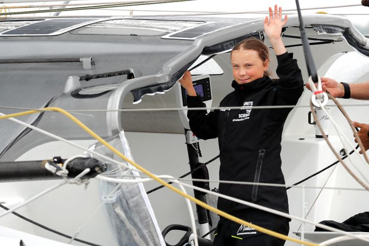 Swedish 16-year-old activist Greta Thunberg on the Malizia II racing yacht in New York Harbor as she neared the completion of