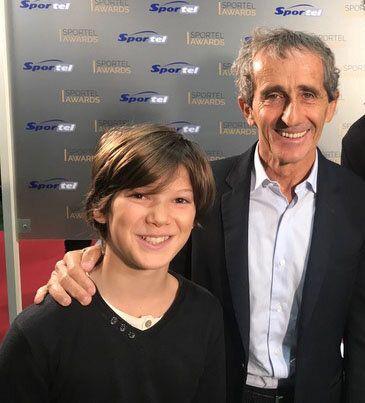 Gaspard Ehrgott avec Alain Prost au Sportel de