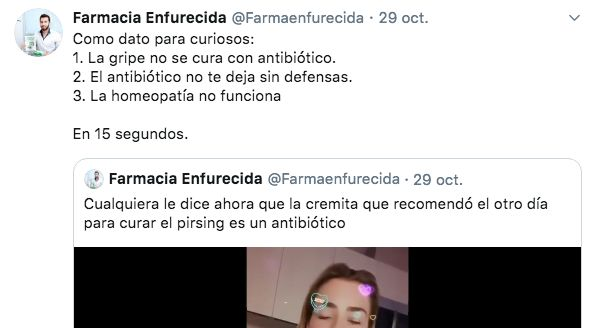Captura de Twitter de Farmacia