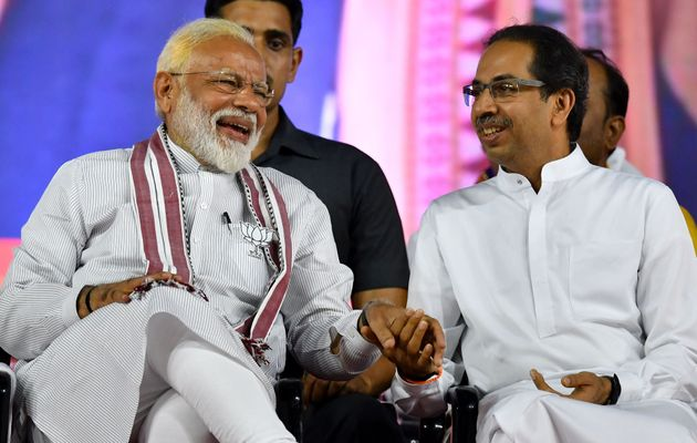 Prime Minister Narendra Modi with Shiv Sena party chief Uddhav Thackeray during Lok Sabha election campaign...