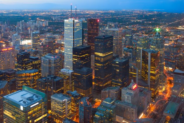 An aerial view of Toronto's central business