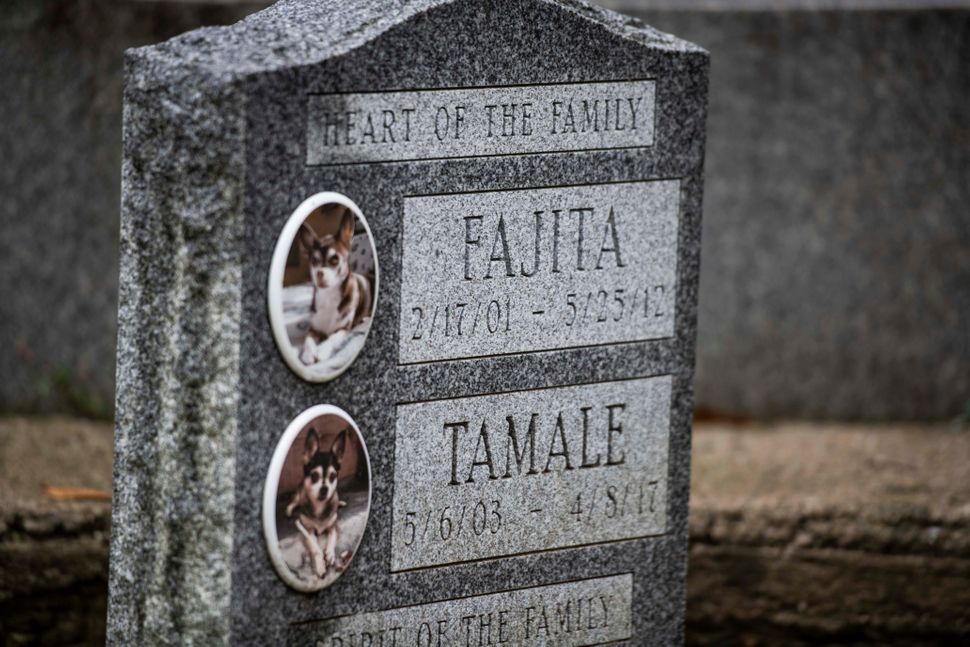 A tombstone for Fajita and Tamale at the Hartsdale Pet Cemetery.