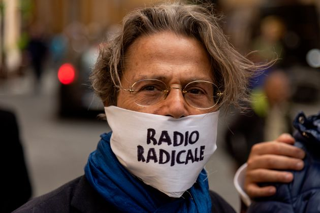 ROME, ITALY - MAY 28: Demonstration against the goverment's decision to close Radio Radicale, the historic...