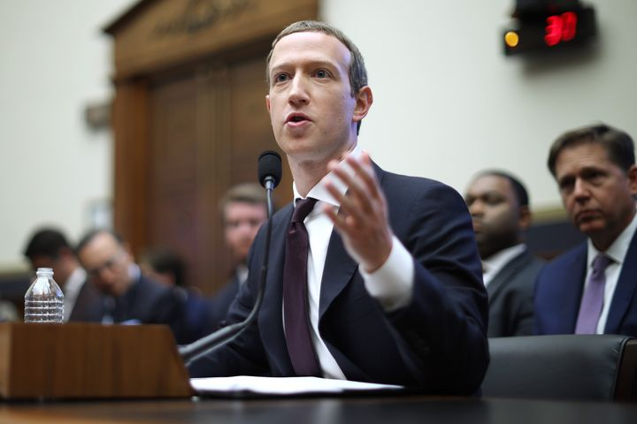 Facebook co-founder and CEO Mark Zuckerberg testifies before the House Financial Services Committee Oct. 23, 2019, in Washing