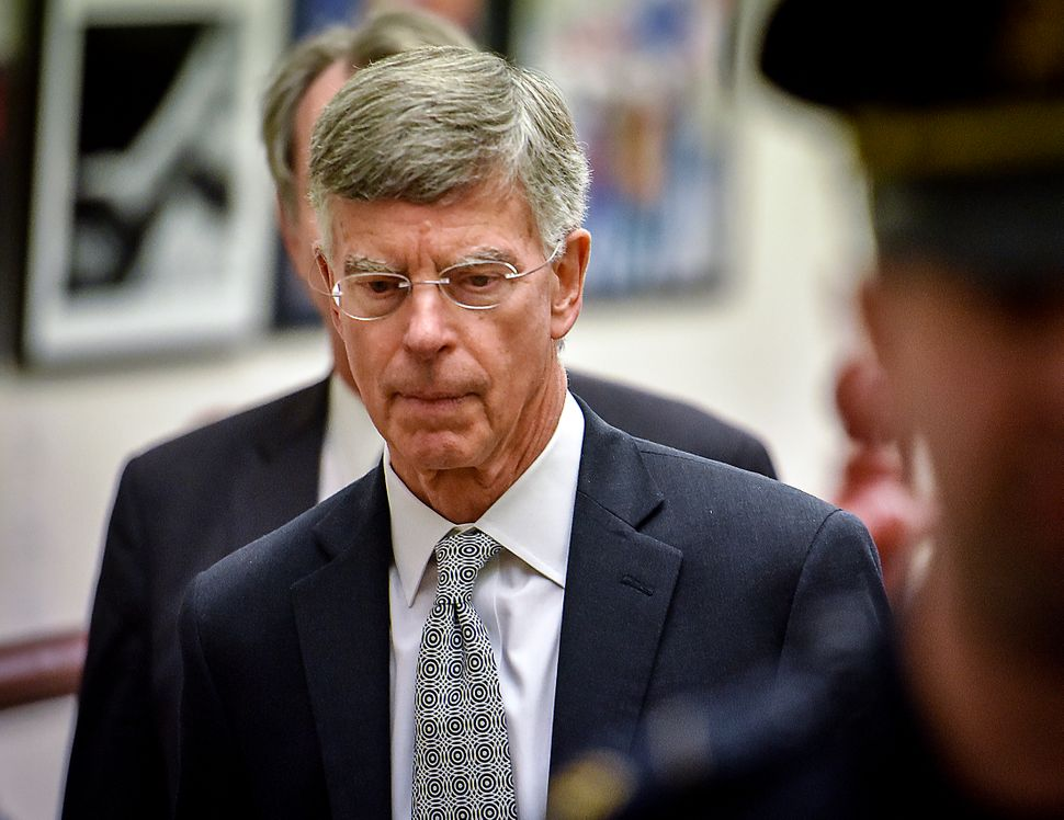 Acting Ambassador Bill Taylor leaves the House Intelligence Committee hearing Oct. 22.