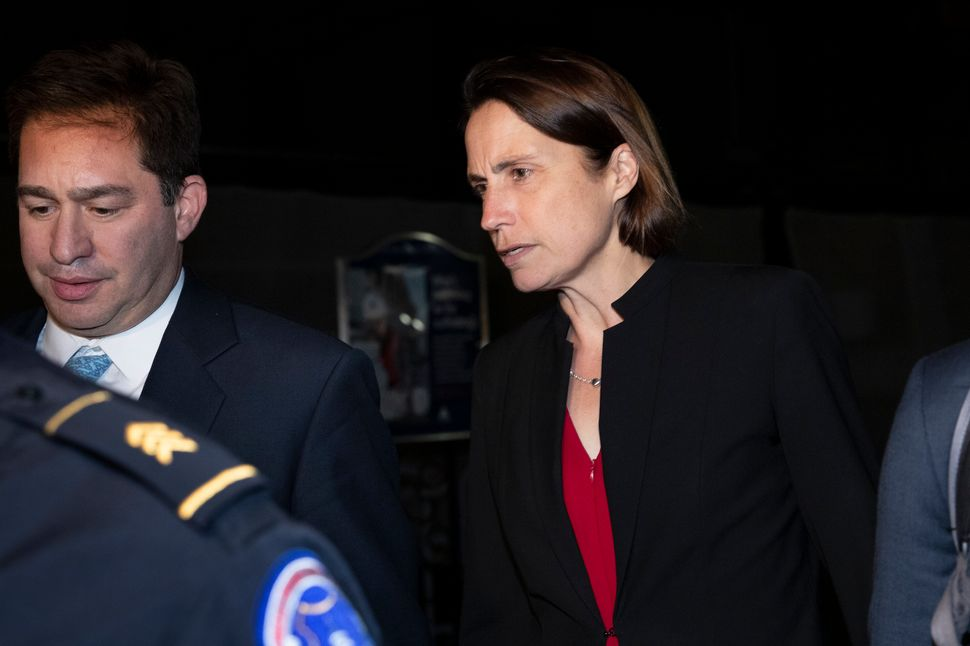 Fiona Hill, the former top White House adviser on Russia, leaves Capitol Hill on Oct. 14 after testifying before congressiona