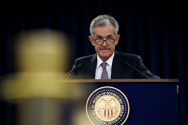 Federal Reserve Board Chairman Jerome Powell speaks at a news conference after a Federal Open Market...