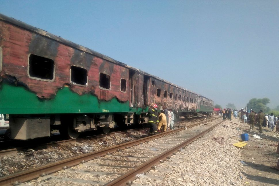 The massive fire engulfed three carriages of the train.