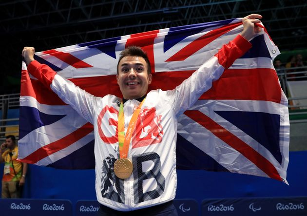 Great Britain's Will Bayley celebrates with the Gold Medal after winning the Class 7 Mens Singles Table...