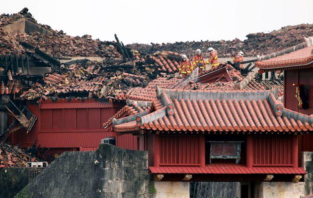 焼失した首里城(10月31日撮影)