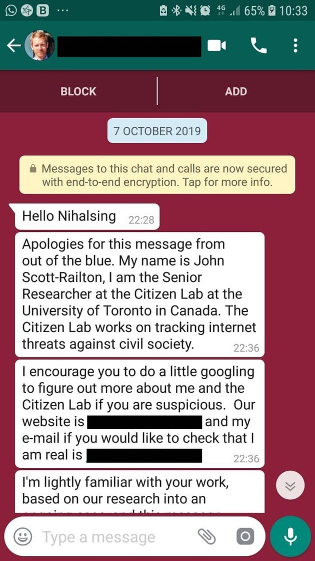 Screenshot of message received by Nihalsingh