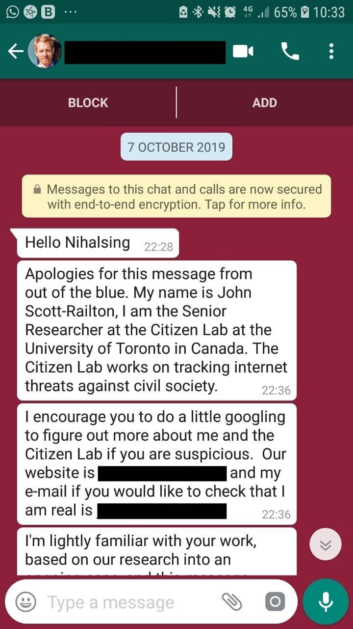Screenshot of message received by Nihalsingh Rathod.