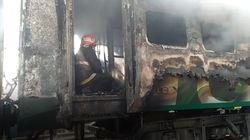 Les images d'un incendie qui a fait au moins 65 morts dans un train au