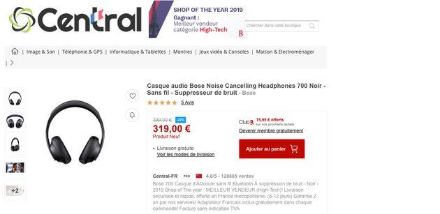 Le vendeur tiers proposant le Bose Headphones 700 n'inclut pas la TVA dans ses prix, vous risquez de...