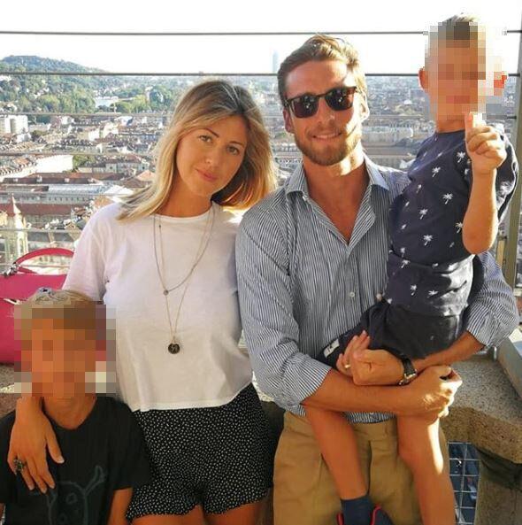Claudio Marchisio con la moglie Roberta e i due