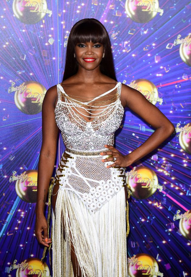 A much smilier Oti Mabuse at this year's Strictly red carpet