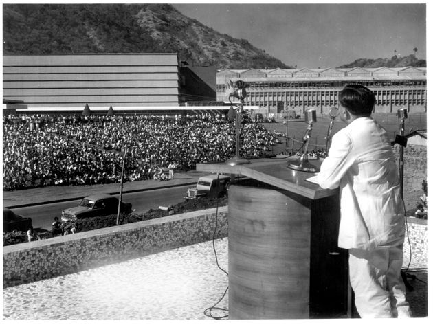 Vikram Sarabhai, the newly appointed Chairman of the Atomic Energy Commission, addressing employees of...