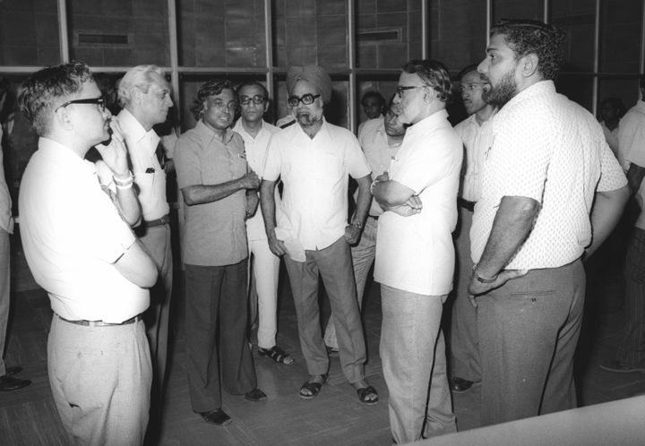 APJ Abdul Kalam briefing the Space Commission members in SHAR (8 August 1978).