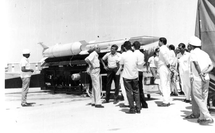 ISRO's biggest sounding rocket, RH-560, on the launcher in SHAR. The two persons standing akimbo are Satish Dhawan (left) and YJ Rao.