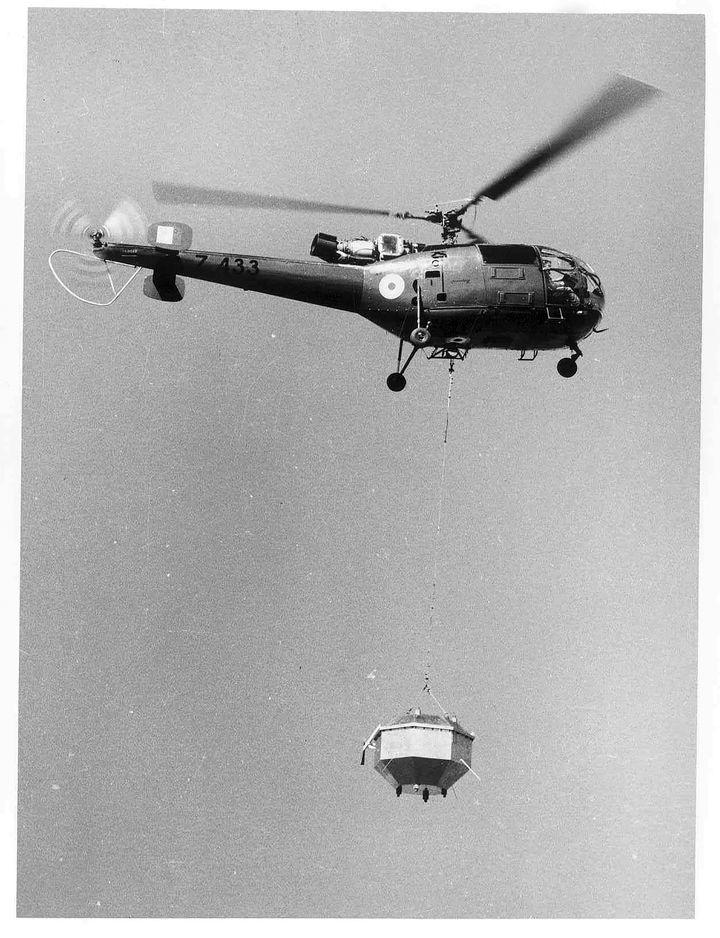 Aryabhata was helicopter-borne for testing the telemetry system in Sriharikota Range (SHAR).