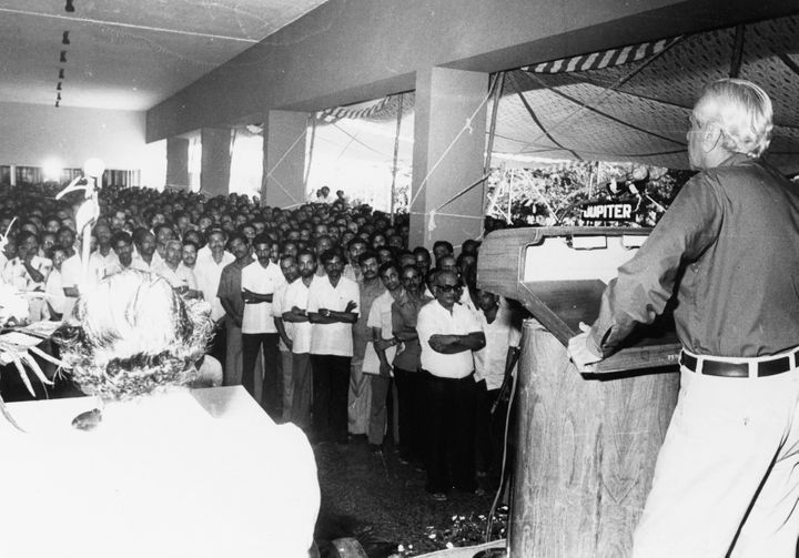 While Vikram Sarabhai laid the foundation for ISRO, Satish Dhawan was the main architect who transformed ISRO into a technological giant in the country. Here, Dhawan is seen addressing the staff of VSSC on the eve of his retirement as Chairman of ISRO and Secretary, Department of Space. He retired in 1984.