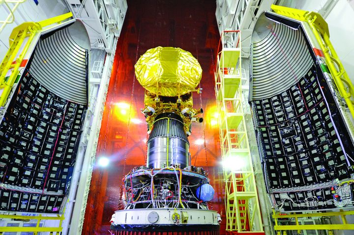 Mars Orbiter spacecraft mounted on top of the PSLV, just before heat-shield closure.