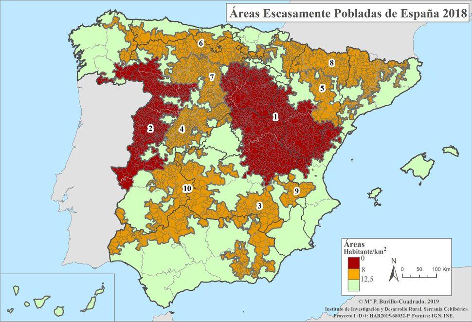 Mapa de las zonas despobladas de