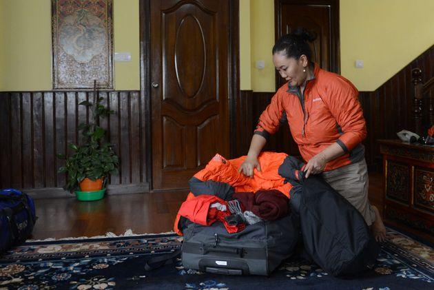 Lhakpa Sherpa che prepara la sua