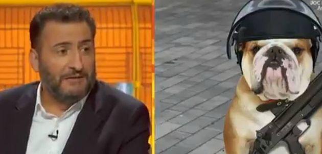 Captura de pantalla de TV3, cuando insultan a los Mossos llamándoles