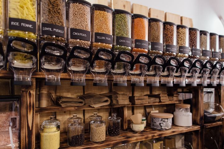 The inside of a zero waste store. Customers bring their own, reusable containers to fill up on their essentials.