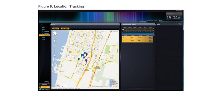 Dashboards show information like the current location of all 'targets' on the map, and can automatically trigger recordings if two targets meet.