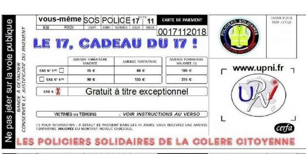 Flyer de l'Union des policiers nationaux indépendants, diffusé sur les réseaux sociaux et distribué sur...