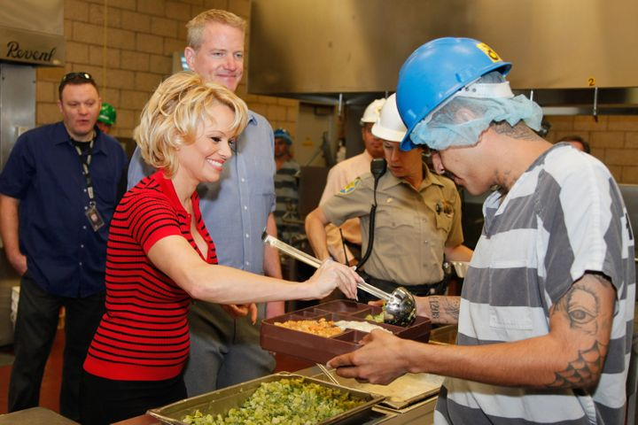 Pamela Anderson served lunch to inmates four years ago at Maricopa County Jail in Phoenix, Arizona.