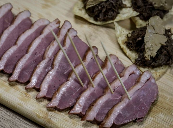 This July 18, 2019 photo shows samples of foie gras from ducks farmed at Hudson Valley Foie Gras duck farm in Ferndale, N.Y.&